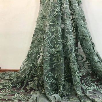 5 Yards Italy Fashion African Lace Fabric Green Embroidery Tulle Lace French Fabric Heavy Handmade Beaded Lace Fabric X738-4