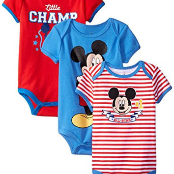 Disney Baby-Boys Mickey Mouse Bodysuits (Pack of 3),Red,12 Months