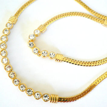 Vintage early 1990's gold tone and Rhinestone necklace and bracelet set