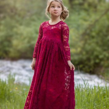 Josephine Wine Long Sleeve Lace Open Back Bow Lace Gown Dress