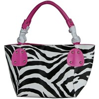 FASH Large Zebra Print Faux Leather Handbag