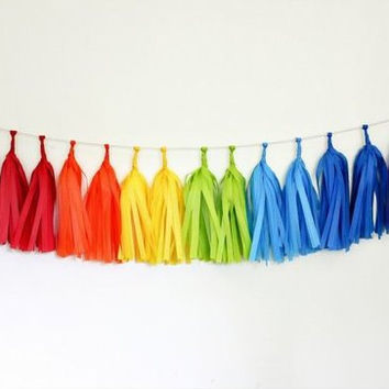 Garland tassel double rainbow tissue paper tassel // birthday // wedding // shower // reception
