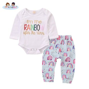 Toddler Newborn Baby Boy Girl Cute Clothes Set Long Sleeve Letters Printed Romper Top Rainbow Printed Pant Fashion 2PCS Outfit