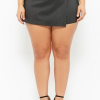 Plus Size Pinstriped Skort