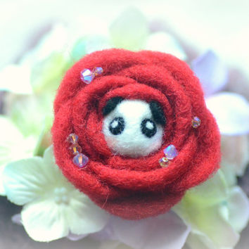 Handmade felt panda in rose brooch, needle felted wool panda in flower pin, whimsical animal brooch, lolita accessories, gift under 20