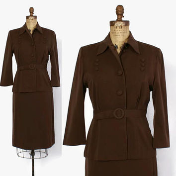 Vintage 40s Tailored Brown SUIT / 1940s Belted Dark Brown Wool Gabardine Blazer Jacket & Pencil Skirt Set S