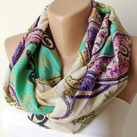 Pasley Dancing.....Infinity Loop Scarf ..Chiffon and coton... Scarf.