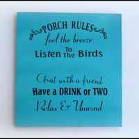 Porch Sign, Porch Rules Wall Art, Porch Art, Porch Decor, Home Decor, Mother's Day Gift