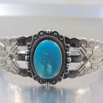 Navajo Jane Yikaazba Popovitch Cuff Bracelet, Signed JP Sterling Silver Turquoise Stamped Bangle Cuff Small Size, Navajo Turquoise Jewelry
