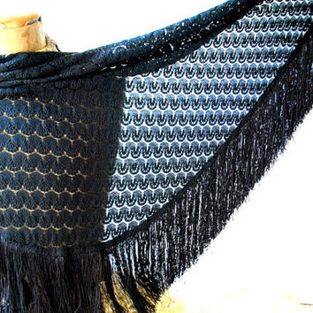 Victorian style vintage 70s black nylon , lace ,piano shawl with a large thick , silky fringe. Made by California Thing.