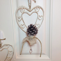 Multi- Heart Motif White Sconces Distressed and Embellished Shabby Home Decor