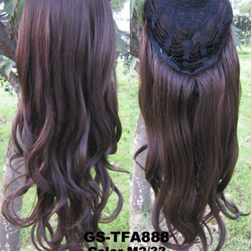 """HOT 3/4 Half Long Curly Wavy Wig Heat Resistant Synthetic Wig Hair 200g 24"""" Highlighted Curly Wig Hairpieces with Comb Wig Hair GS-TFA888 M2/33"""