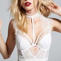 Love, Courtney by Nasty Gal Burn Black Lace Bustier - White