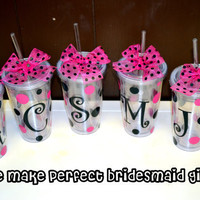 6 SIX Bridesmaid gifts Personalized Cups - 16oz Clear Acrylic Tumbler Cup with Screw on Acrylic Lid and Removable Straw