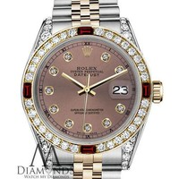Unisex Rolex 36mm Datejust 2 Tone Salmon Color Dial Accent RT Ruby & Diamond
