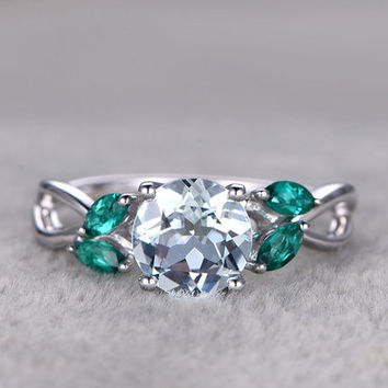 White Gold Aquamarine Engagement Rings With Emerald Flower Marquise Cut Retro Vintage 14k/18k