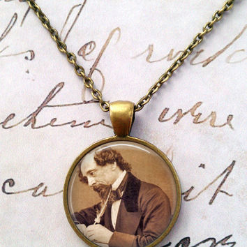 Charles Dickens Necklace, Tale of Two Cities, Quote, Literature, Steampunk, Best of Times, Worst of Times  T1113