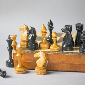 Vintage chess set big wooden, brown black chess piece with chessboard, chess set USSR, gift chess game good condition, portable travel chess