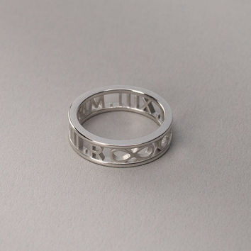 Roman Numeral Ring in Solid White Gold - Custom Name, Date, Symbol, Number. Wedding and Anniversary