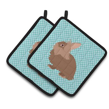 Lionhead Rabbit Blue Check Pair of Pot Holders BB8134PTHD