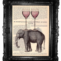 Elephant - ORIGINAL ARTWORT, Mixed Media - ART Print Hand Painted vintage book