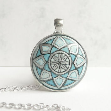 Exceptional Hand Painted Necklace, Sacred Geometry Jewelry,  Blue Necklace  - Turquoise Blue Pendant - Wood Jewelry