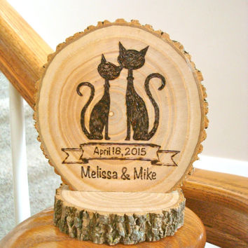 Wedding Cake Topper Rustic Wood Burned Cat Couple Personalized