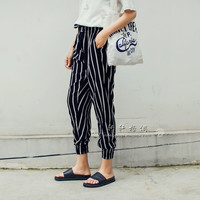 Striped Loose Cropped Pants