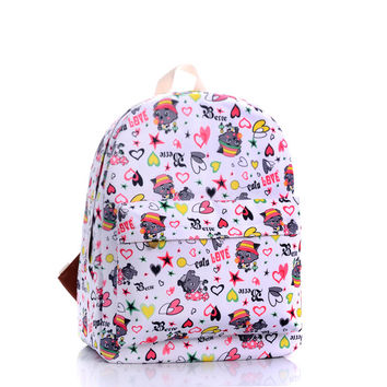Cute Cartoons Lovely Canvas Backpack = 4887783172