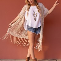 West Coast Wardrobe  Sunrise Searcher Open Knit Kimono with Fringe in Beige