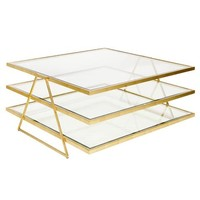 Worlds Away Jonathan 3 Tier Gold Leaf Coffee Table