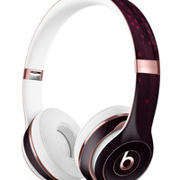 Falling Micro Hearts Over Burgundy Planks of Wood 2 Full-Body Skin Kit for the Beats by Dre Solo 3 Wireless Headphones