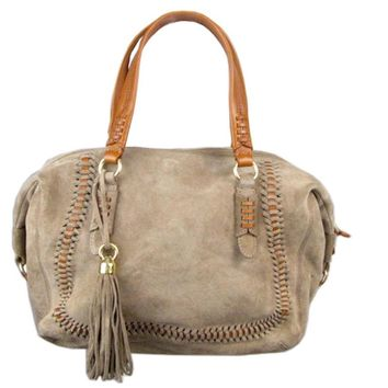 Ralph Lauren Suede Canvas Satchel Handbag
