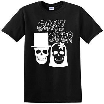 Game Over Skull Bride and Groom T-Shirt, wedding party, groom, bride, bachelor party, marriage, getting married, game over, skulls, tshirts