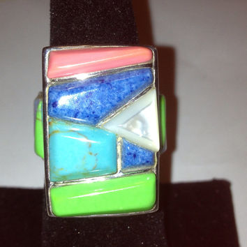 Lapis Turquoise Ring Sz 8 Rhodonite MOP Gaspeite 925 Sterling Silver Lazuli Vintage Southwestern Jewelry CFJ Christmas Holiday Birthday Gift