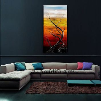 Tree Painting Landscape Painting Original Abstract Oil painting Modern Art decor colorful shades Twilight Sunsets Tree Art online gallery