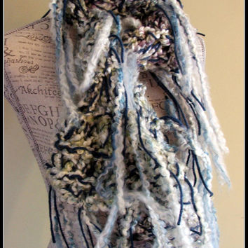 Knit Scarf. Infinity scarf. Disheveled Scarf. Winter. Made by Bead Gs on ETSY. Cream with blues. Chunky Scarf. Disheveled. scarves.