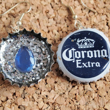 Corona Beer Earrings - recycled bottle cap resin silver glitter blue gem upcycle jewlery FREE Shipping to USA