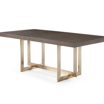 Modrest Pike Modern Brown Ash & Brass Dining Table