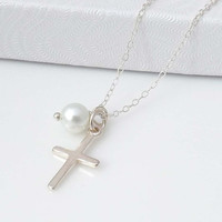 Pendant necklace - Cross necklace - Sterling Silver Cross - Gift for bridesmaids and friends