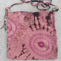 Red/Brown tie-dyed Batic Purse/Messenger Bag Boho/Gypsy/Hippie/Southwest/Country