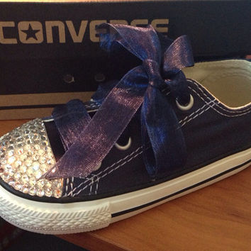 Navy Blue Simple  Bling Converse