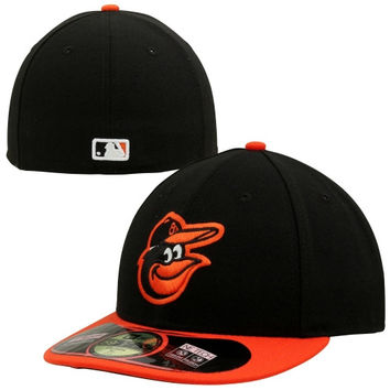 New Era Baltimore Orioles Low Crown AC 59FIFTY On-Field Road Fitted Performance Hat - Black/Orange