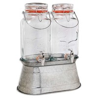 Home Essentials Embossed Galvanized Double Jug Beverage Dispenser