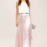 On Holiday Blush Pink Satin Maxi Skirt