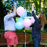"Ready to ship. 1 Baby Gender reveal confetti balloon. 24"" Black balloons with confetti."