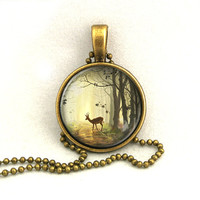 10% SALE - Necklace Deer in Autumn Forest Pendant Necklaces Gift