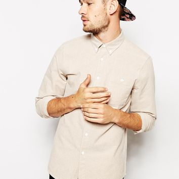 ASOS Brushed Oxford Shirt In Stone With Long Sleeves at asos.com