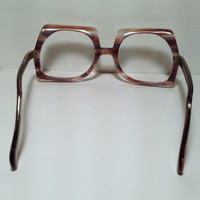 Vintage eyewear. Made in Italy. 1970's. Large unique shape iconic for the Seventies. Mod. Boho. Disco. American Hustle. Avante Garde. Techie