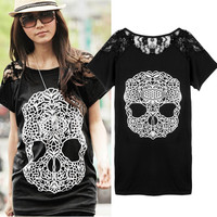 womens Skull t shirts fashion 2016 3d t shirt women Hip Hop lady tee T-shirt Casual Fitness Skate Swag marcelo burlon